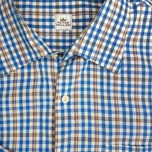 Peter Millar XXL Button Down Blue/Brown/White